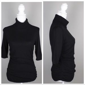 Ann Taylor Turtleneck Elbow Sleeve Ruched Sweater